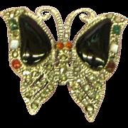 Sterling Silver,Onyx,Marcasite,Emeralds,Rubies,Garnet,Carnelian Petite Butterfly Pin Brooch.