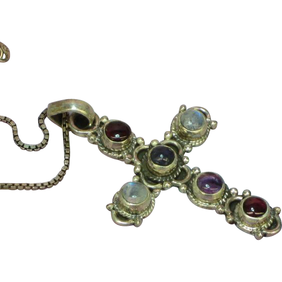 Cross with Genuine Stones Amethyst Garnet Labradorite Sterling Silver Large Incredible Necklace.
