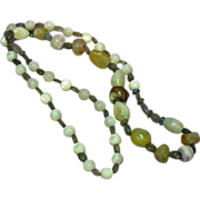"Labradorite  Mother of Pearl Agate One of a Kind 26"" Necklace"