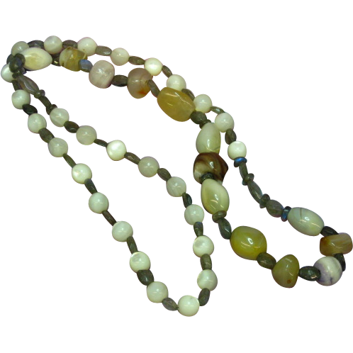 "SALE! Labradorite  Mother of Pearl Agate One of a Kind 26"" Necklace"
