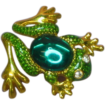 50% OFF SALE Frog Figural Jelly Belly Green Textured Enamel Pin Brooch