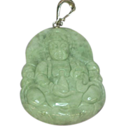 Jade Quan Yen Figure Sterling Silver Enhancer Large Carved Natural Gemstone Attachment Pendant.