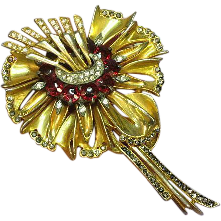 DeRosa, unsigned 1940's Estate Clear ,Black Diamond Rhinestones and Red Crystal Brooch.