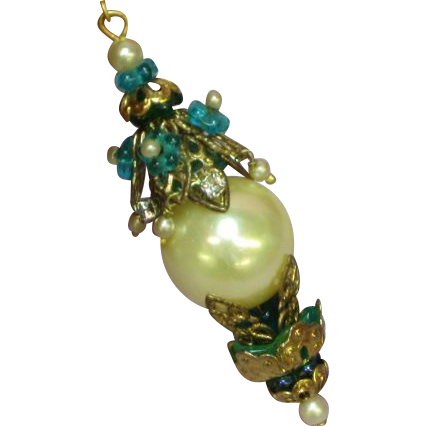 Art Nouveau Style White Rhinestone Teal Glass Faux Pearl Drop Stunning Négligée Lavalier Pendant