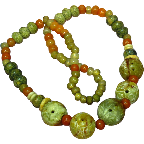 "Jade  Pierced and Carved Chinese Large Bead Necklace Incredible Multi Color Mix Size 24"" Necklace"