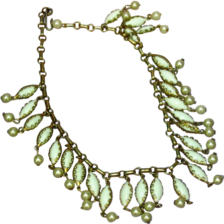 White Milk Glass Fringe Drippy Choker Necklace