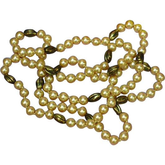 "Pearls Haute Couture Glass Hand Knotted Champagne Pink 38"" Strand with Brass Beads Necklace"