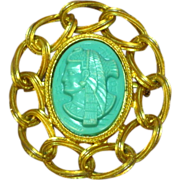 Egyptian Warrior Turquoise Plastic  Pin Brooch