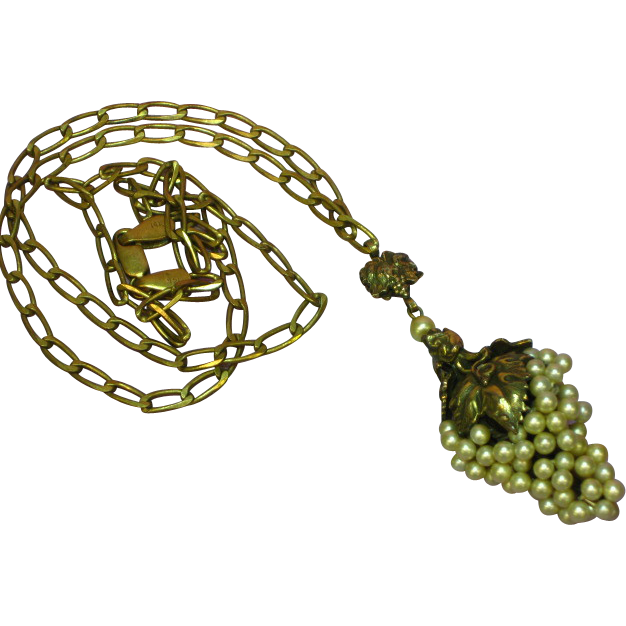 SALE! Art Nouveau Brass Wired Pearls Grape Cluster Floral Filigree Necklace