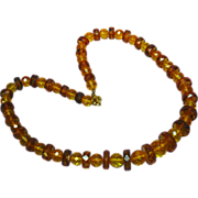 "Amber Poland Baltic Faceted Beads Estate 21"" long Necklace"