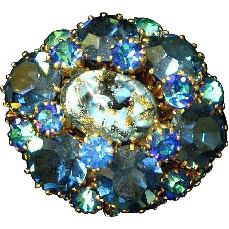Austria Rhinestones, Art Glass, High Quality Pin, Brooch
