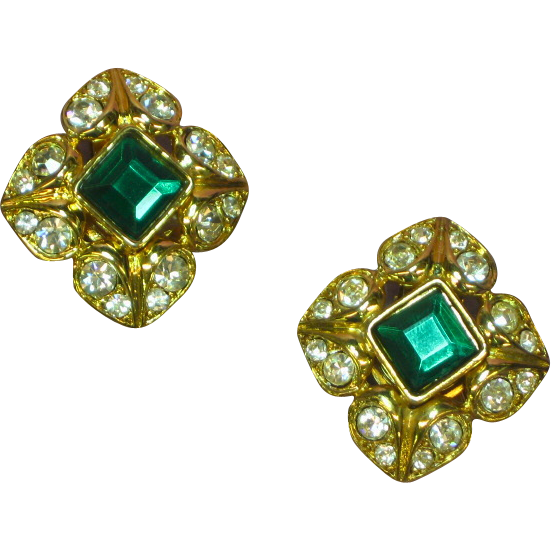 Heavy Gilt Gold and Green and Clear Rhinestone Clip Earrings Irresistible!