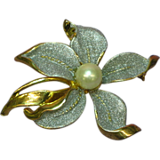 50% OFF Large Golden Toned  Flower Faux Pearl Pin Brooch