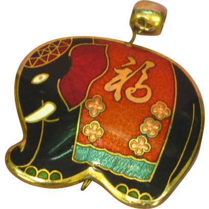 Elephant Pendant Cloisonne Guilloche Enamel Black Peach Teal White Red Gilt Republican Political