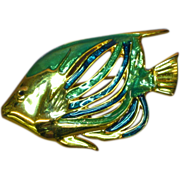 Enamel Large Bright and Beautiful Figural Fish Pin Brooch