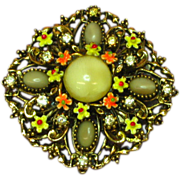 Art Enamel Flowers Art Glass Rhinestones Pin Brooch