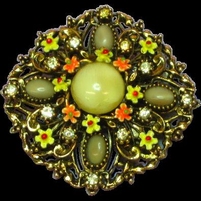 Art Enamel Flowers Art Glass Rhinestones Pin Brooch