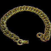 Emmons Signed Brushed Gold Tone Elegant Link Bracelet