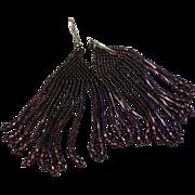 Seed Bead and Bugle Bead Wine Purple Pierced Dangle Earrings