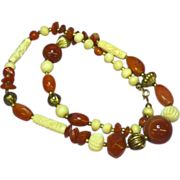 "Carnelian Beads , Hand Carved Bone Beads Round Banded Agates 24"" Necklace"
