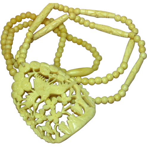 Vintage Hand-Carved Large Bone Crane Flowers Necklace