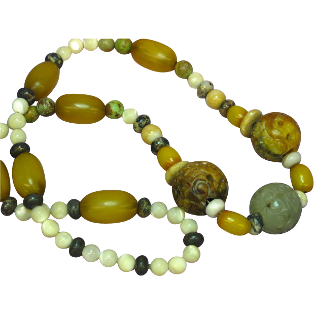 "Jade Pierced and Carved Chinese Large Bead Necklace Incredible Multi Color Mix Amber Size 26"" Necklace"