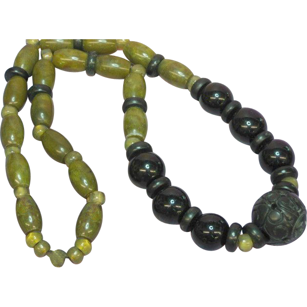"Jade Pierced and Carved Chinese Large Dark Green Bead Necklace Incredible Green Color Mix  Size 24"" Necklace"