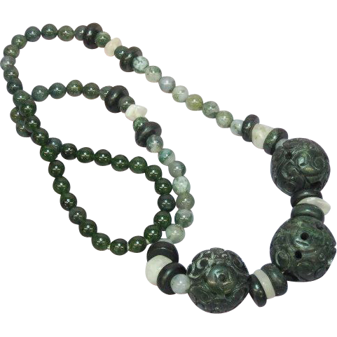 "Jade Pierced and Carved Chinese Large Dark Green Beads Necklace Incredible Green Color Mix Size 24"" Necklace"