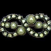 50% OFF SALE Pearl Rhinestones  Art Nouveau Style Pin Brooch
