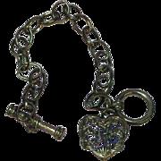 50% OFF SALE  Heart Charm Gun Metal Black Locket Bracelet
