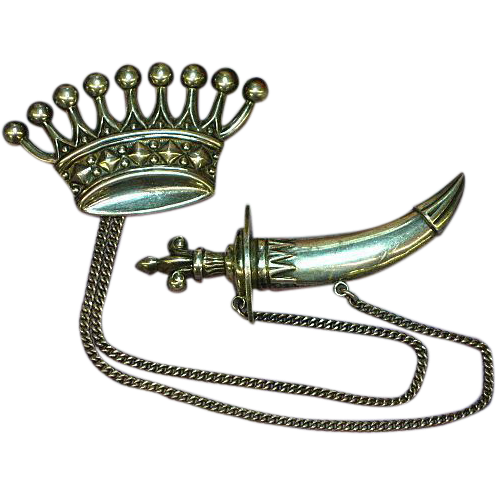 50% OFF SALE!!  Crown and Sword in Scabbard Sterling Silver, .925, Regal Pin Brooch