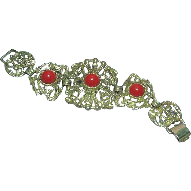 50% OFF SALE  Gold-tone Metal Bracelet with Large Red Lucite Cabochons.