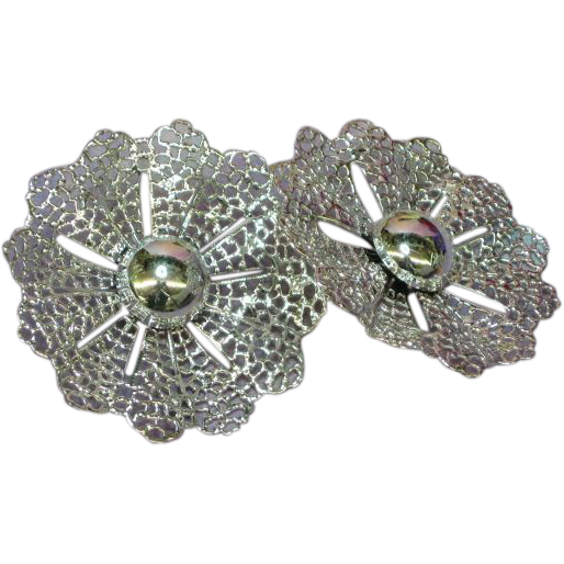S.A.C. Marked Wonderful Large Filigree Rhodium Plate Earrings