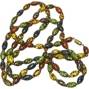 "Enamel Heavy Glazed Colorful Metal Bead 58"" Necklace"
