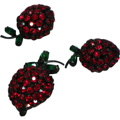 Warner Red Rhinestone Cherries or Strawberries Pin Earring Set Demi Parure