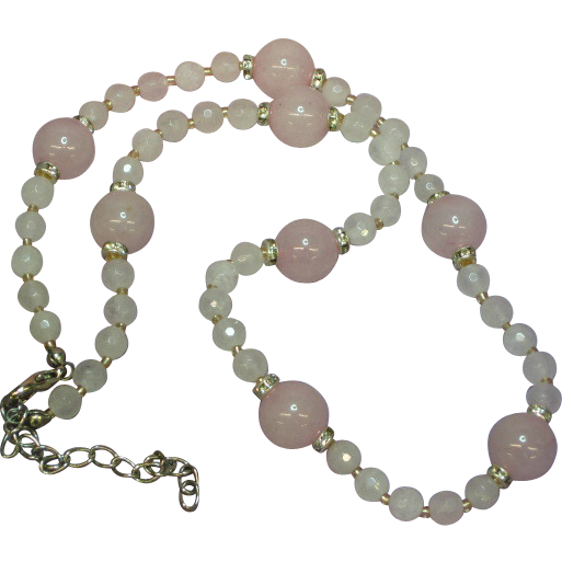 Gemstones Pink Rose Quartz Faceted Rhinestone Rondells Necklace