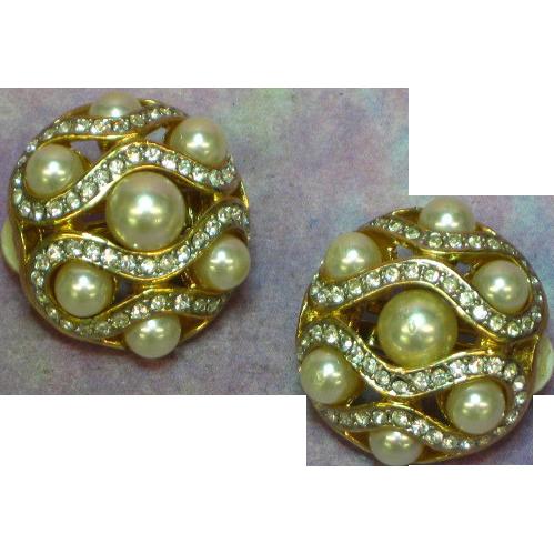 Rhinestones Gold Tone Metal  Faux Pearl Round Clip Earrings