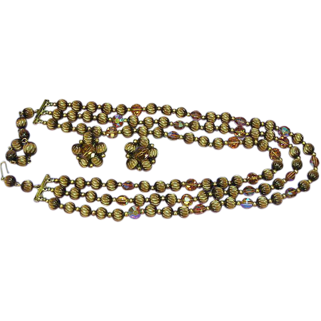Czech Republic Crystal, Hand Beaded,Carved Moon Glow Demi-Parure
