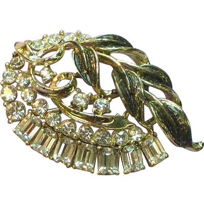50% OFF SALE Star Signed Stunning Rhinestone and Enamel Brooch,Gold-Tone Pin