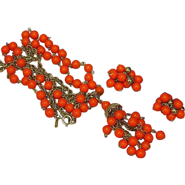 Kramer Lucite Orange Necklace and Pierced Earrings Set Demi Parure