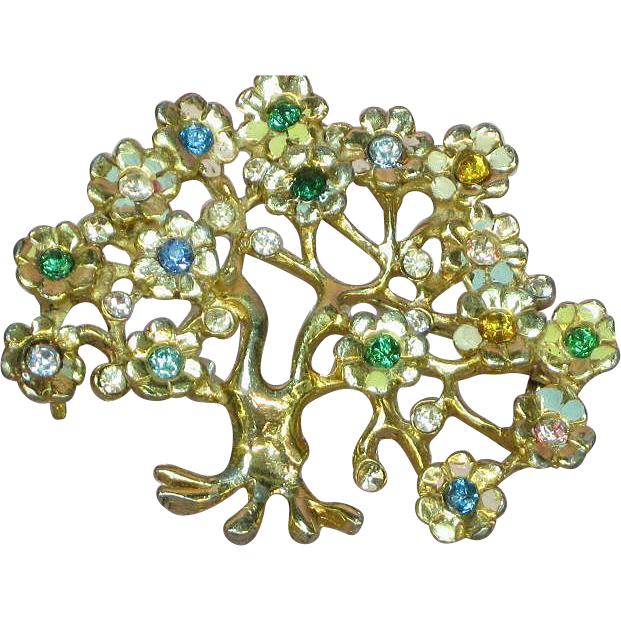 Enamel Rhinestones Tree of Life Gorgeous Estate Brooch Pin
