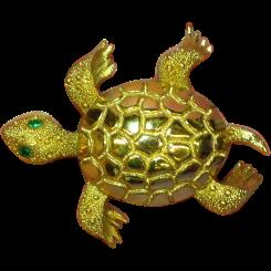 50% OFF SALE Monet Turtle Bright Shiny Gold-tone Rhinestones Eyes Figural Pin Brooch