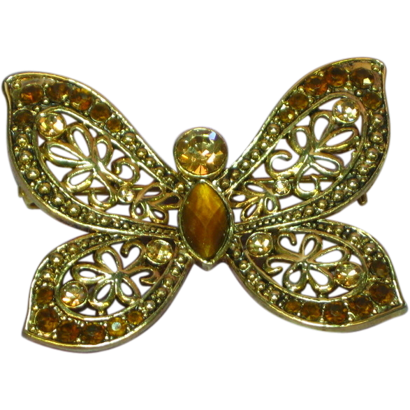 50% OFF SALE Rhinestones Amber Topaz Citrine Golden Honey Butterfly Pin Brooch