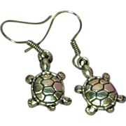 50% OFF Turtle Figural Silver Tone Hook Pierced Earrings