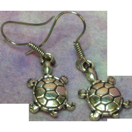 50% OFF Turtle Figural Silver Tone Hook Pierced Earrings