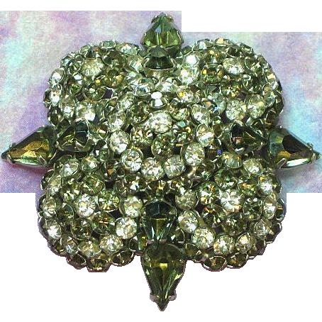 Warner Signed, Humongous Rhinestone, 'Black Diamond', Multi Layer, Brooch