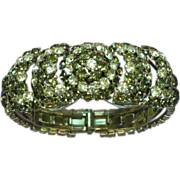 Warner Signed Jewel Encrusted Grey & Clear Rhinestones Clamper Bracelet