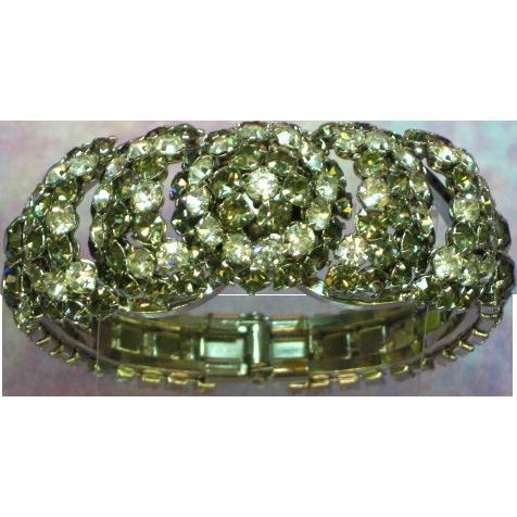 Warner Signed Jewel Encrusted Grey & Clear Rhinestones Clamper Bracelet