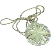 Carved Mother of Pearl Large Star Design Hand Made MOP Round Pendant and Sterling Silver Chain