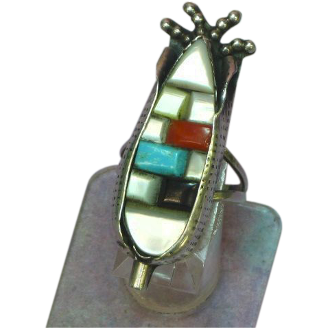 Native American Symbolic Ear of Corn Inlay Turquoise Coral Onyx MOP Long Ring